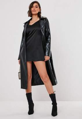 Missguided Black Faux Leather Oversized Trench Coat