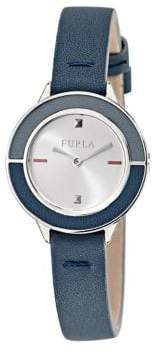 Furla Club Stainless Steel Leather-Strap Watch