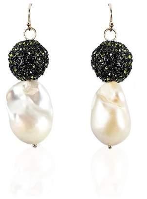 Trademark Cole Pearl Earrings With Green Rhinestones