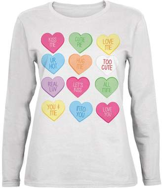 Old Glory Valentine's Day Candy Hearts Womens Long Sleeve T-Shirt - 2X-Large