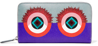 Fendi - 2jours Embellished Textured-leather Continental Wallet - Violet $600 thestylecure.com