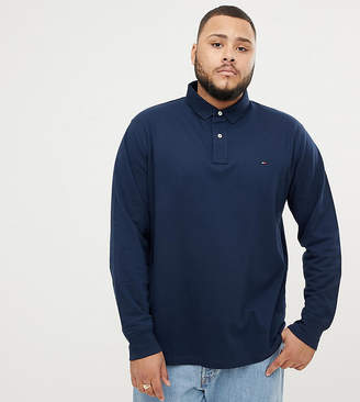 Tommy Hilfiger Big & Tall Icon flag logo regular fit long sleeve pique polo in navy