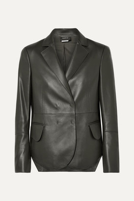 Akris Denada Double-breasted Leather Blazer - Dark green