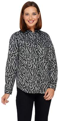 Joan Rivers Classics Collection Joan Rivers Zebra Print Button Front Shirt with Long Sleeves