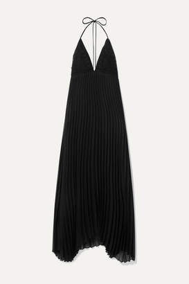 Alice + Olivia Alice Olivia - Lariette Pleated Chiffon And Crocheted Cotton Halterneck Maxi Dress - Black