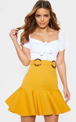 PrettyLittleThing Petite White Peplum Hem Tortoise Belt Skirt