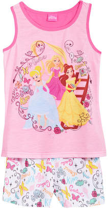 Disney Disney's 2-Pc. Princesses Cinderella, Belle & Rapunzel Pajama Set, Little & Big Girls