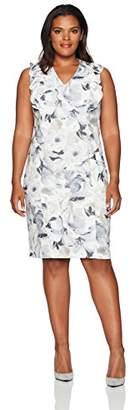 Calvin Klein Women's Plus Size Printed V-Neck Dress with Ruffle
