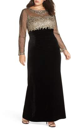 Xscape Evenings Metallic Embroidered Velvet Gown