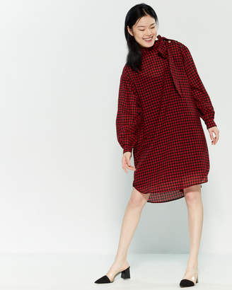 Alysi Vichy Long Sleeve Shift Dress