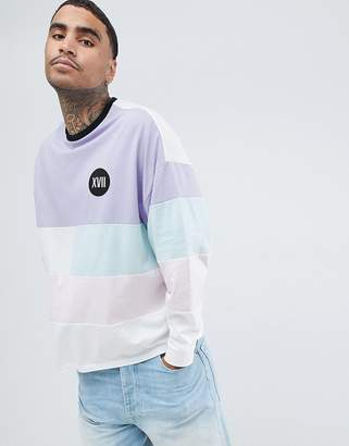 Asos DESIGN oversized long sleeve t-shirt with pastel color block and numerals chest print