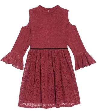 Blush by Us Angels Cold Shoulder Lace Dress