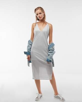 Express Sparkly Pleated Deep V-Neck Sheath Dress