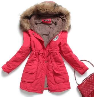 Mintsnow Women's Faux Fur Hooded Cotton-Padded Parka Long Jacket US S