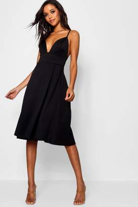 boohoo Scuba Frill Skirt Midi Skater Dress
