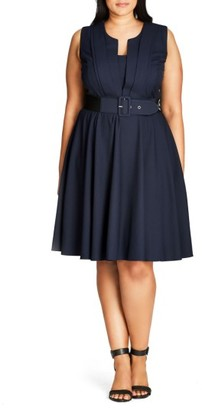 Plus Size Women's City Chic Vintage Veronica Belted Pleat Fit & Flare Dress $89 thestylecure.com