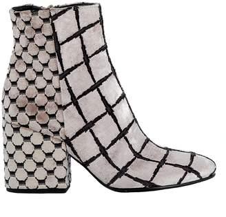Elena Iachi Nude Velvet Ankle Boots