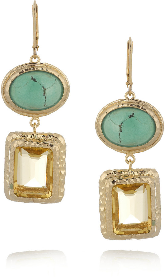 Isharya Nile Nymph 18-karat gold-plated turquoise and crystal earrings