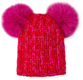 Mimi Metallic Knit Beanie Hat w  Fur Pompoms 2650e6bf57e3