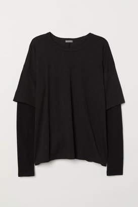 H&M Long-sleeved Jersey Shirt - Black