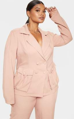 PrettyLittleThing Plus Camel Double Breasted Pocket Detail Blazer
