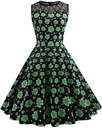 DAY Birger et Mikkelsen Là Vestmon Women's St. Patrick's Retro Sleeveless Lace Print Round Neck A Line Dress