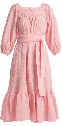 Lisa Marie Fernandez Laure Broderie Anglaise Cotton Dress - Womens - Pink White