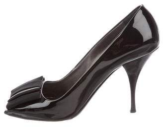 Prada Patent Leather Peep-Toe Pumps