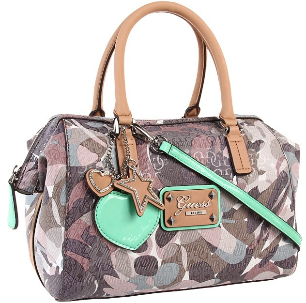 GUESS Airun Box Satchel (Taupe Multi) - Bags and Luggage