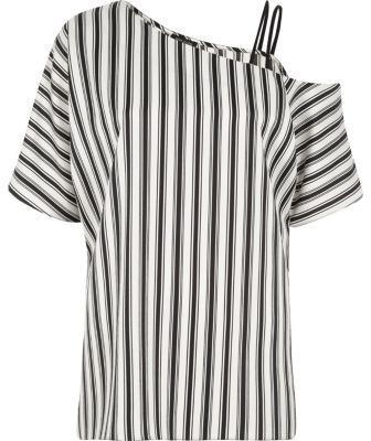 River Island River Island Womens Black stripe print one cold shoulder top