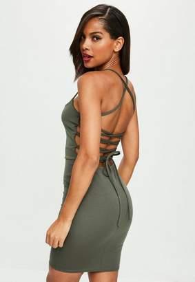 Missguided Khaki Scuba Lace Up Dress