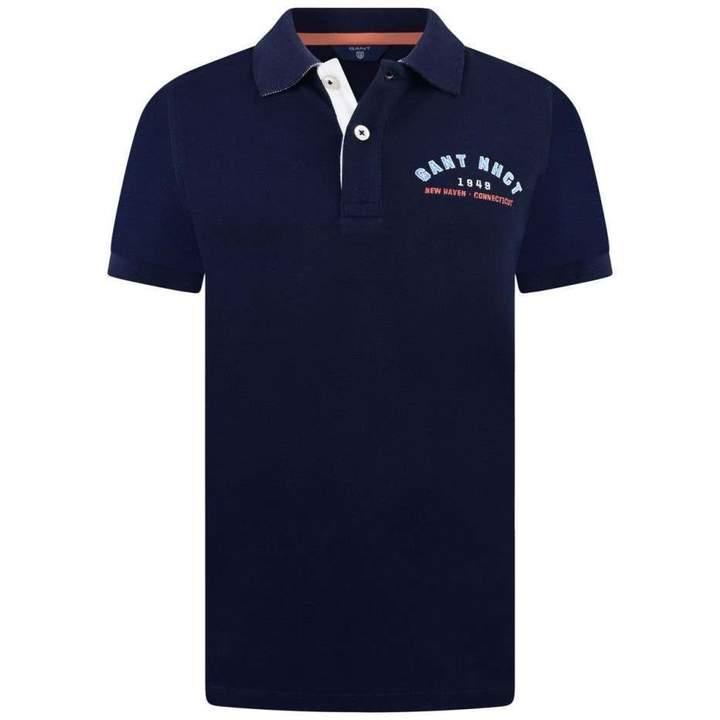 GantBoys Navy Contrast Collar Pique Polo Top