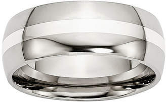 MODERN BRIDE Personalized Mens 8mm Stainless Steel & Steel Sterling Silver Inlay Wedding Band