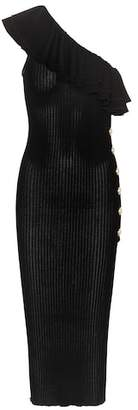 Balmain Ribbed one-shoulder midi dress