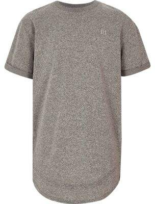 River Island Boys grey layered hem embroidered T-shirt