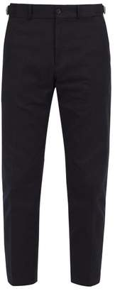 Burberry Tailored Cotton Blend Trousers - Mens - Navy
