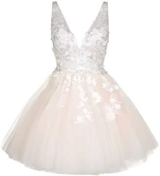 Jovani Floral Applique Tulle Dress