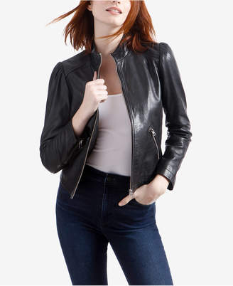 Lucky Brand Puff-Sleeve Leather Jacket