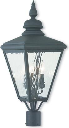 Cambridge Silversmiths Livex Lighting Livex 3-Light Black Post-Top Lantern