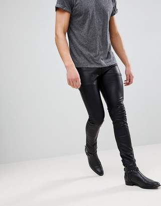 Asos Super Skinny Jeans In Black Faux Leather With Knee And Hem Detail