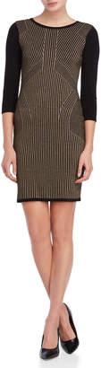 Sandra Darren Petite Metallic Print Sweater Dress