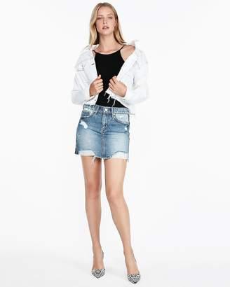 Express Mid Rise Side Stripe Medium Wash Denim Mini Skirt