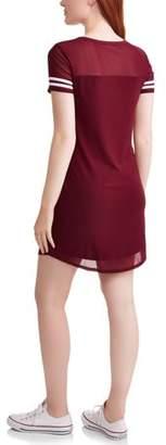 No Boundaries Juniors' Mesh Overlay Short Sleeve Dress with Sleeve Stripes