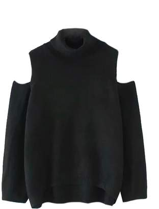 Goodnight Macaroon 'Charlaine' Cut-Out Shoulder Roll Neck Sweater (5 Colors)