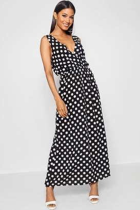 boohoo Large Scale Polka Dot Print Wrap Maxi Dress
