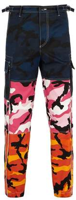 Valentino Camouflage Print Panelled Trousers - Mens - Multi