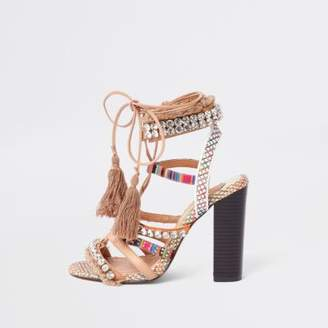 River Island Womens Beige gem block heel sandals