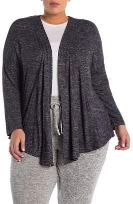 Bobeau Draped Front Cozy Cardigan (Plus Size)