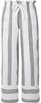 Lemlem Xena Striped Cotton-blend Gauze Straight-leg Pants - White