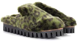 Ganni Gregor faux-fur slippers